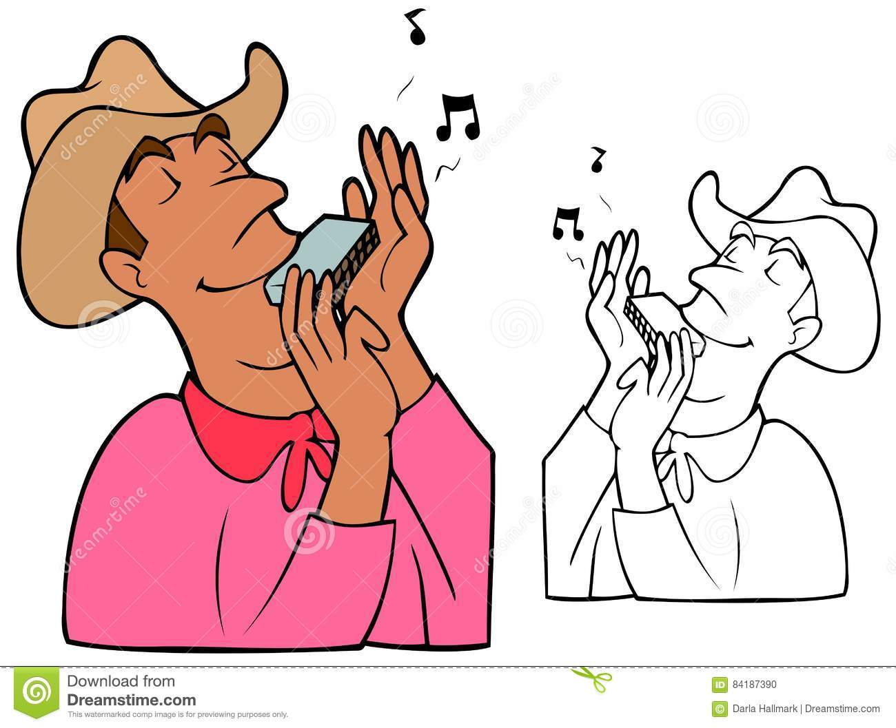 Cowboy Playing A Harmonica Stock Vector - Image: 84187390