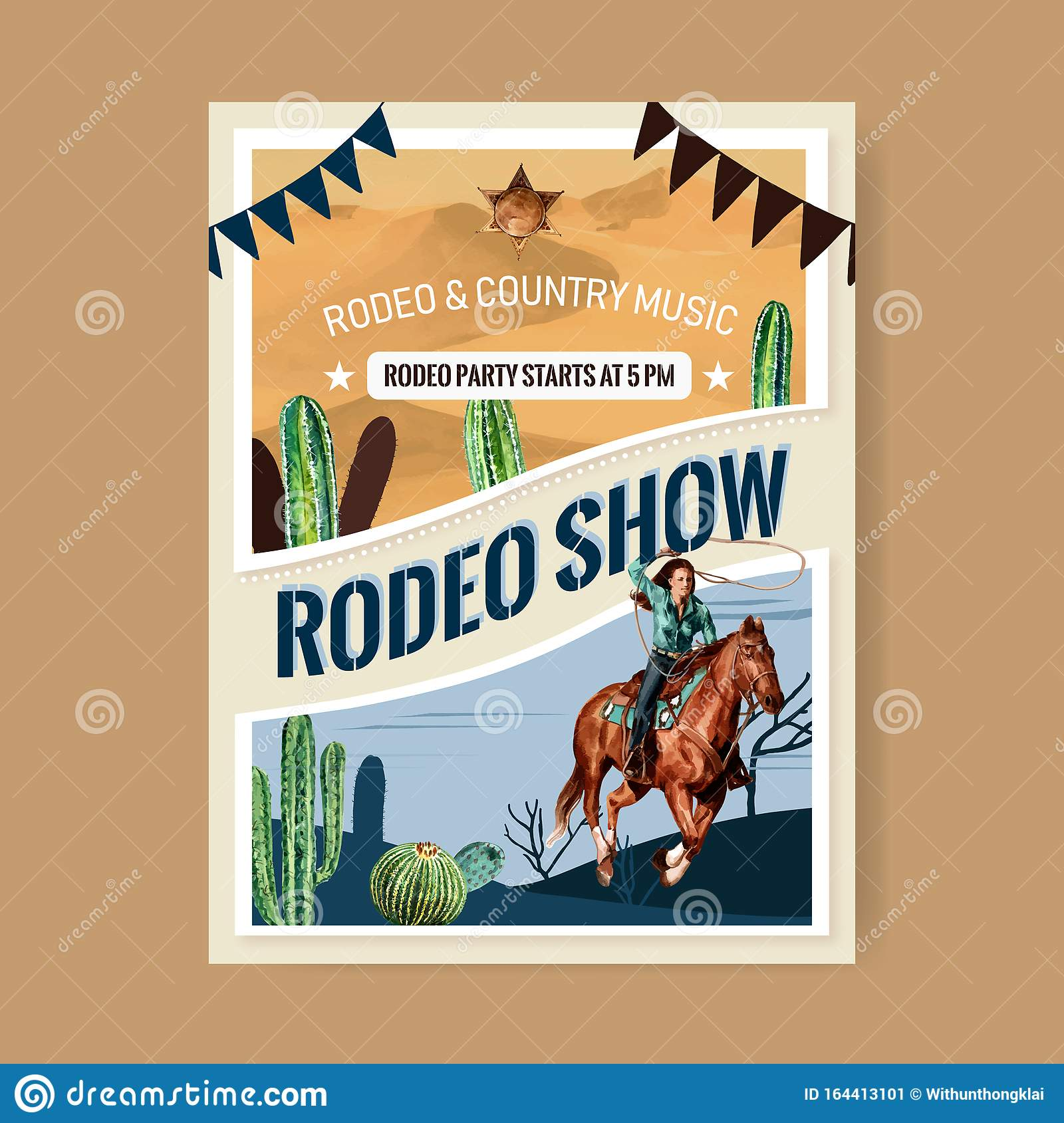 Cowboy Poster Design With Man Horse Cactus Watercolor Illustration Stock Vector Illustration Of Hand Western 164413101