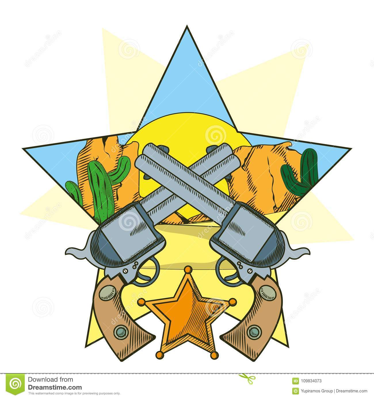 cowboy revolvers crossed cartoon stock vector illustration of