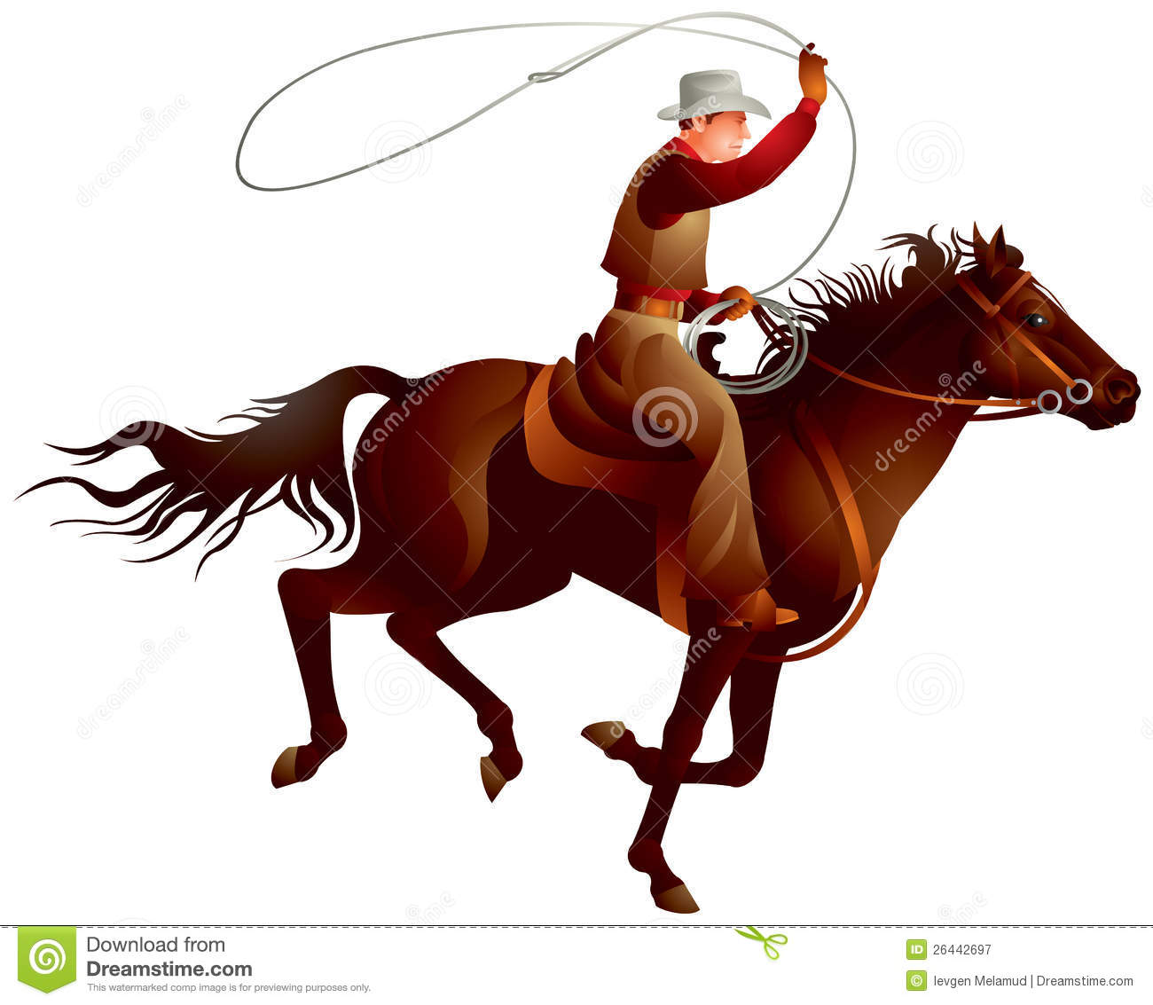 Cowboy rider on the horse throwing lasso vector illustration from Wild ...
