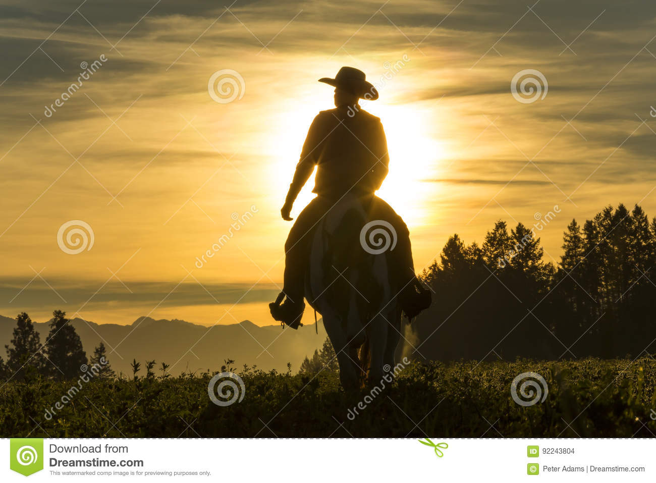 Cowboy riding across grassland with mountains in the background