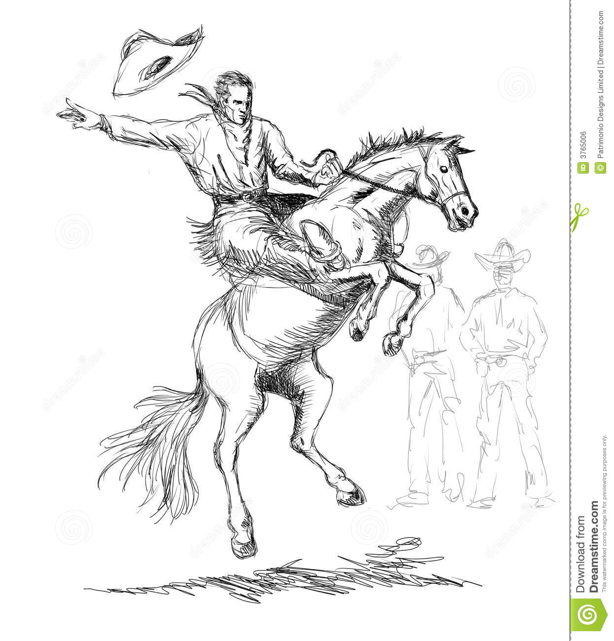 Cowboy Riding A Bucking Bronco Royalty Free Stock Image