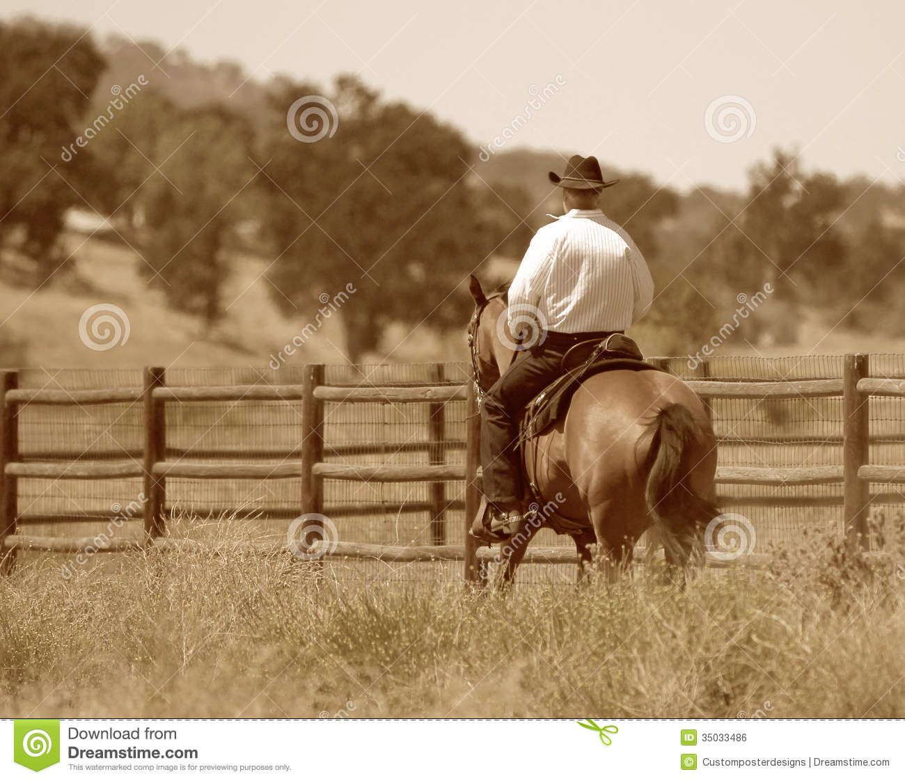 A Cowboy Riding His Horse In A Meadow Stock Photo Image