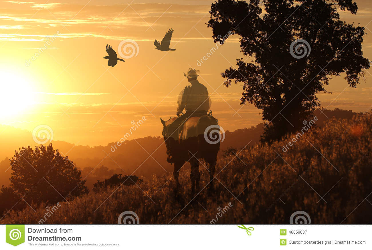 A cowboy riding his horse in a meadow of golden grass.