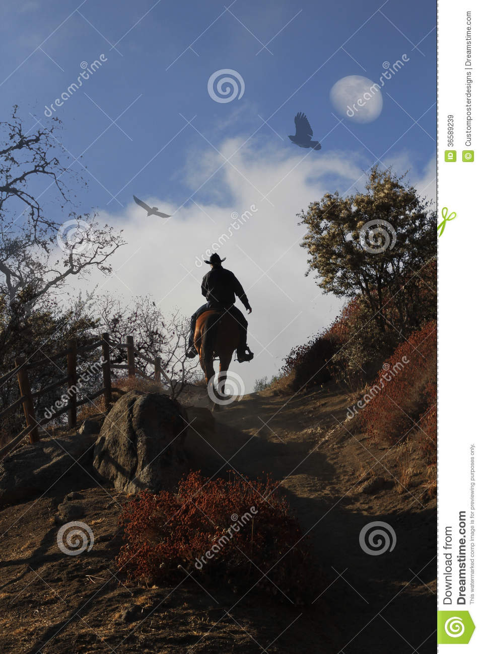 A Cowboy Riding His Horse Up A Hill. Stock Image - Image ...