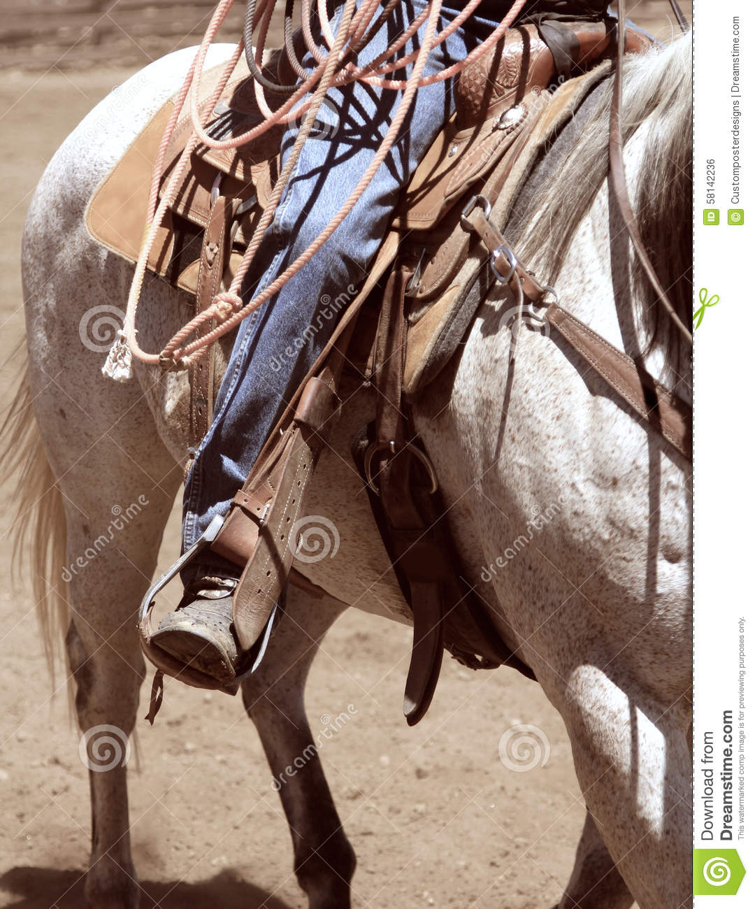 Download A cowboy riding a horse. stock photo. Image of equestrian - 58142236