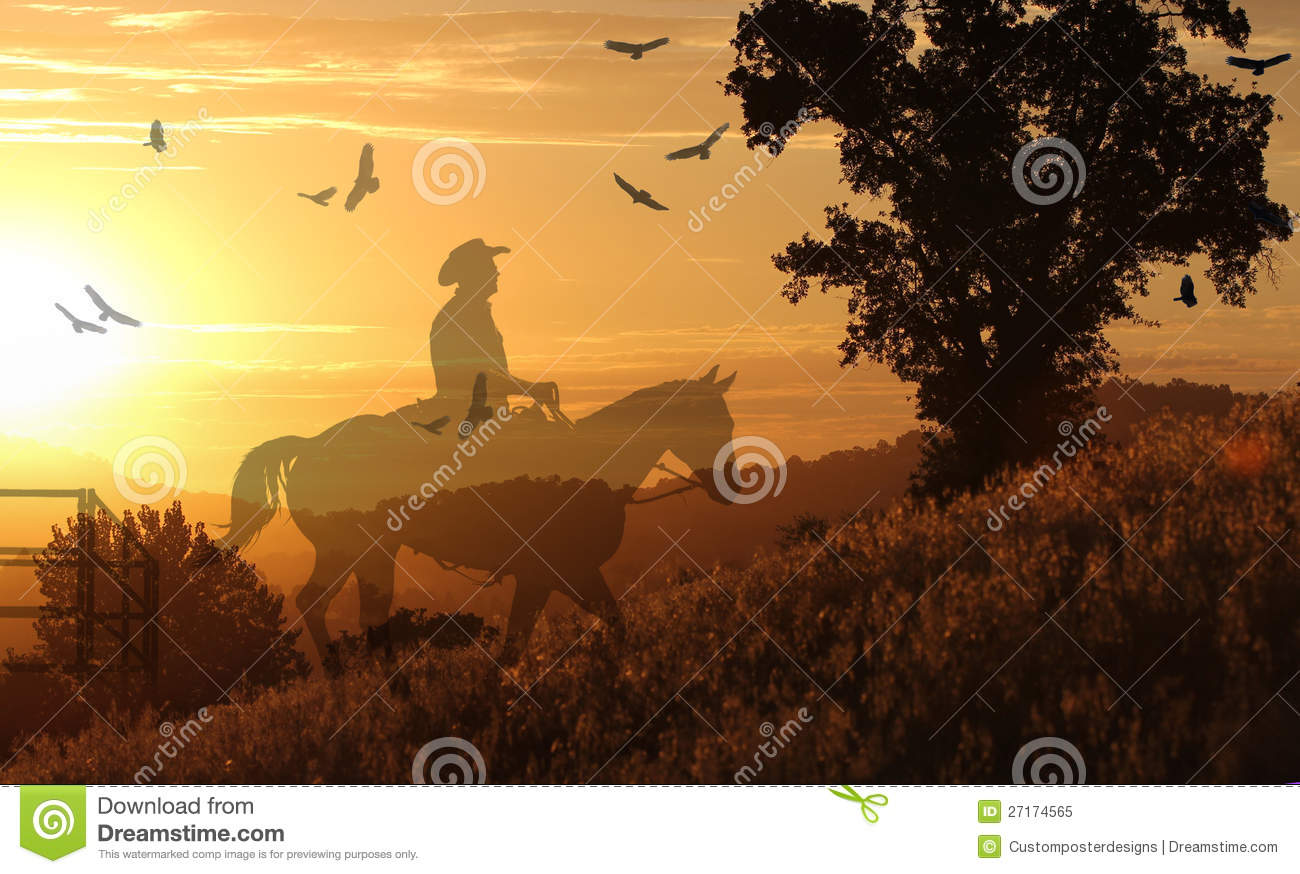 Cowboy riding on a horse II.