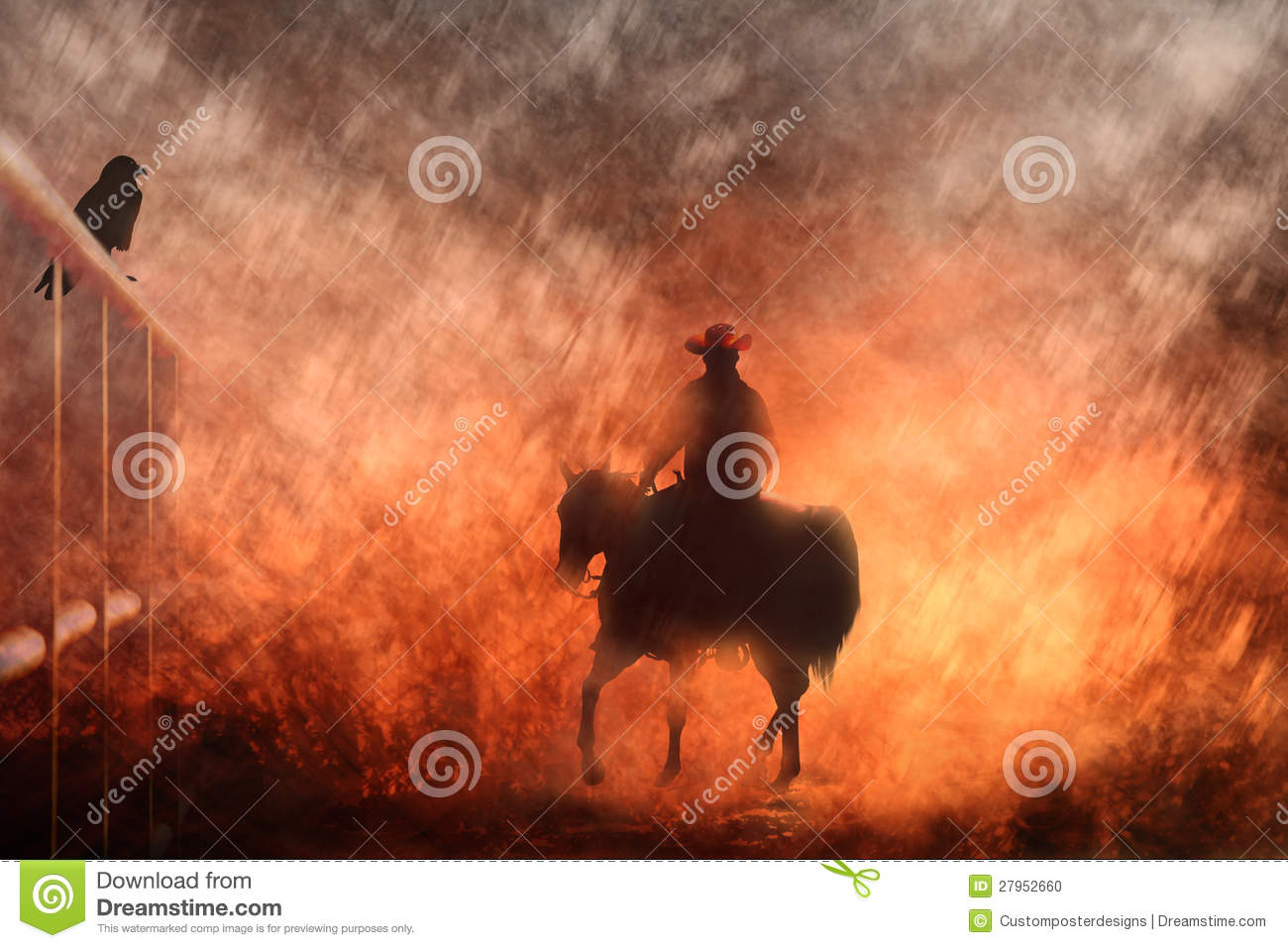 Cowboy riding on a horse III.