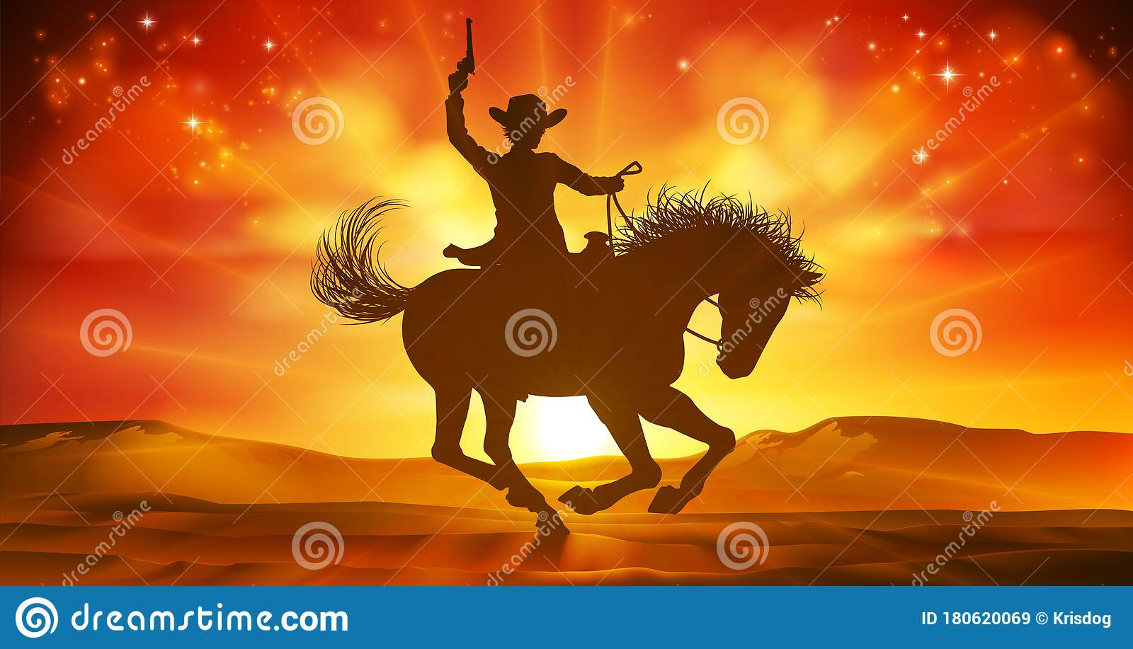 Cowboy Riding Horse Silhouette Sunset Background Stock Vector Illustration Of Holding Pistol 180620069