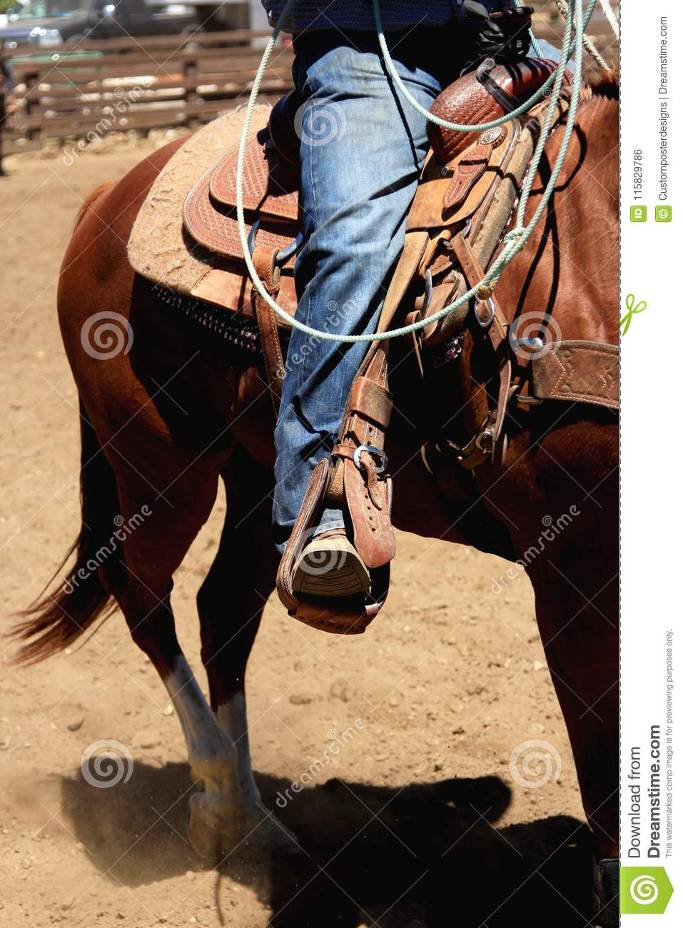 Download Cowboy Riding A Horse With The Stirrup In Front. Stock Photo - Image of photo, jeans: 115829786
