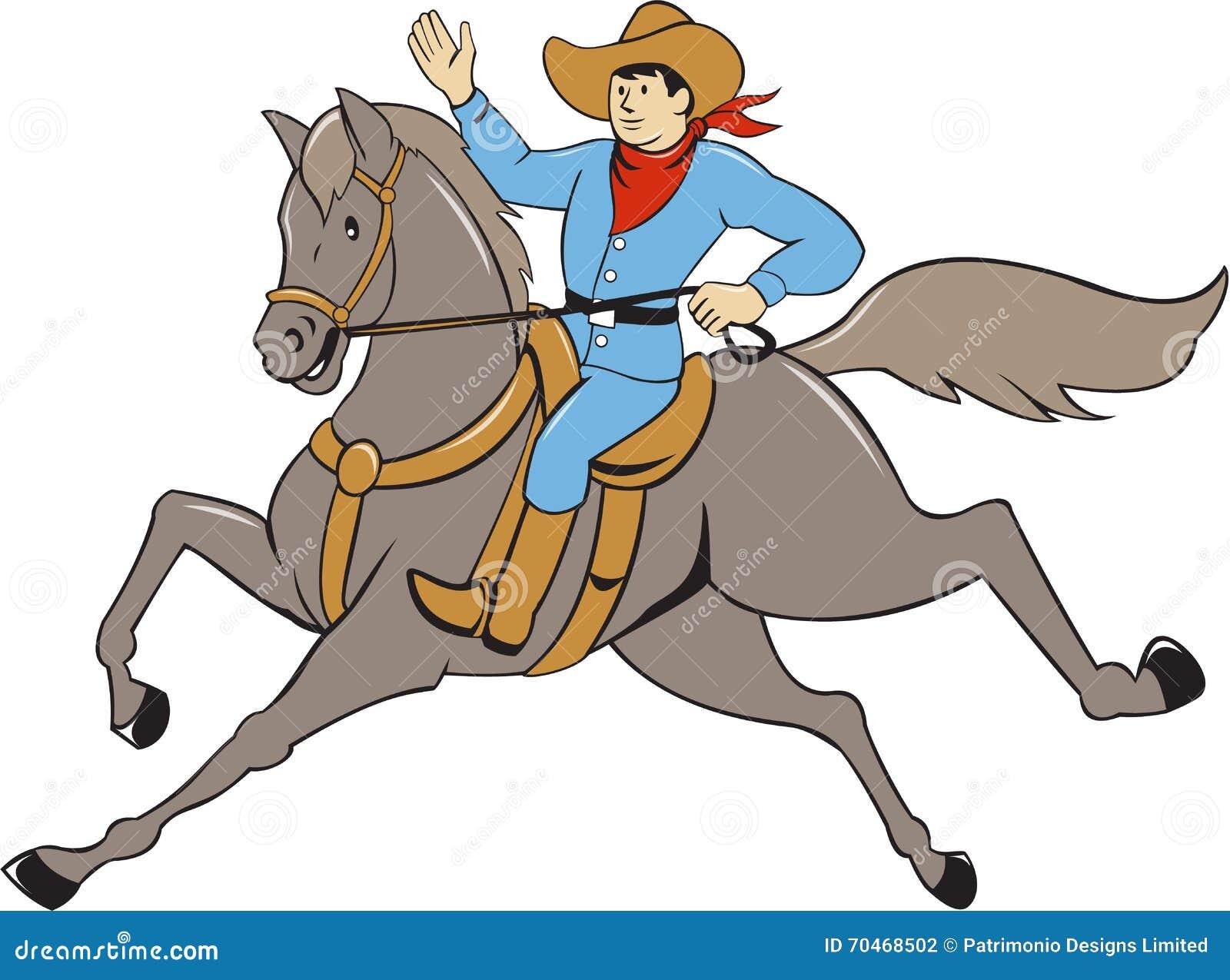 Cowboy Riding Horse Waving Cartoon Stock Vector Illustration Of