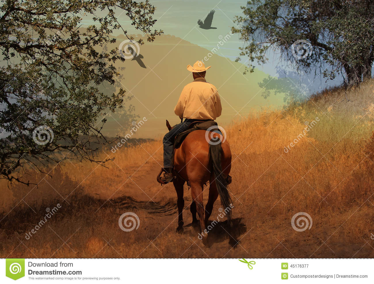 Download A Cowboy Riding His Horse On A Mountain Trail With Oak Trees. Stock Image - Image of cowboy, equestrian: 45176377