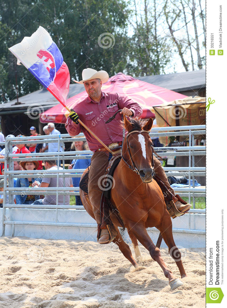 Cowboy Riding With Slovakian Flag Editorial Photo Image