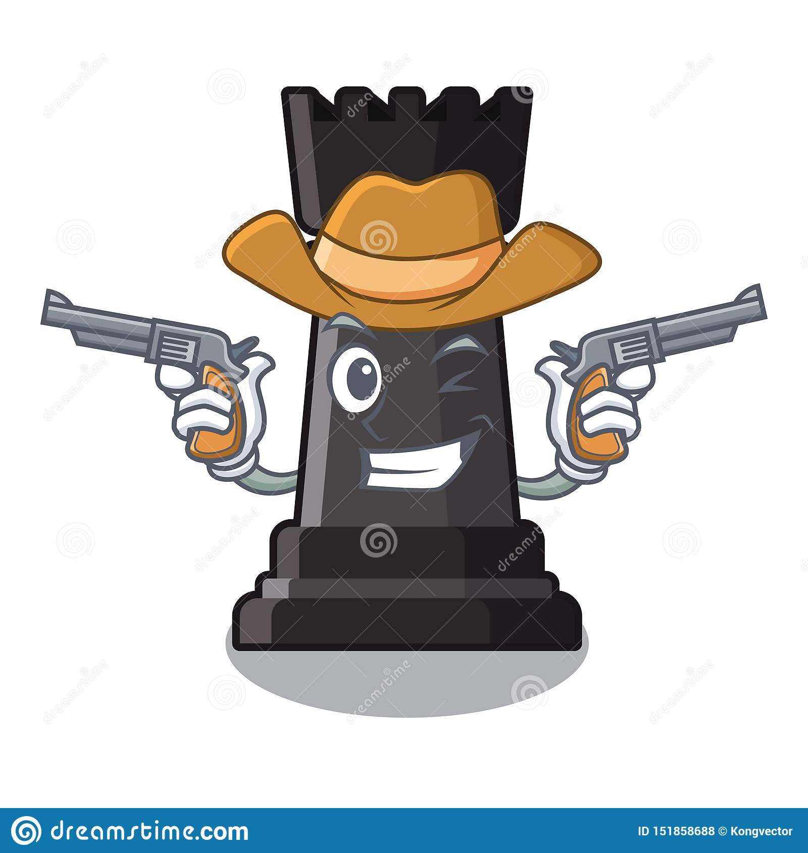 Cowboy rook chess toys above cartoon table