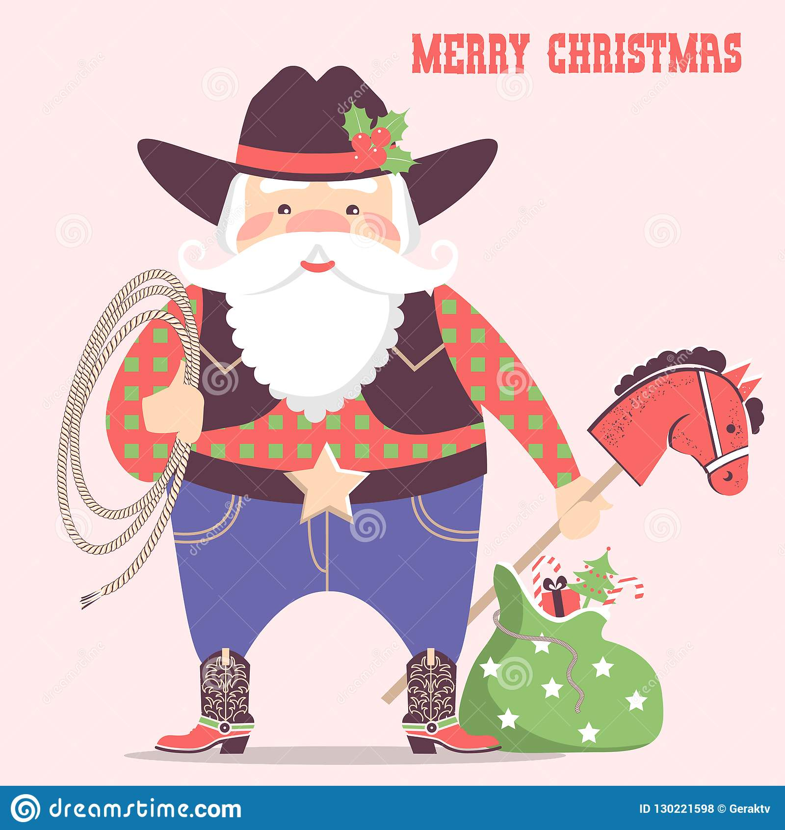 Cowboy Santa Claus With Western Hat And Holiday Gifts .Vector Ch ...