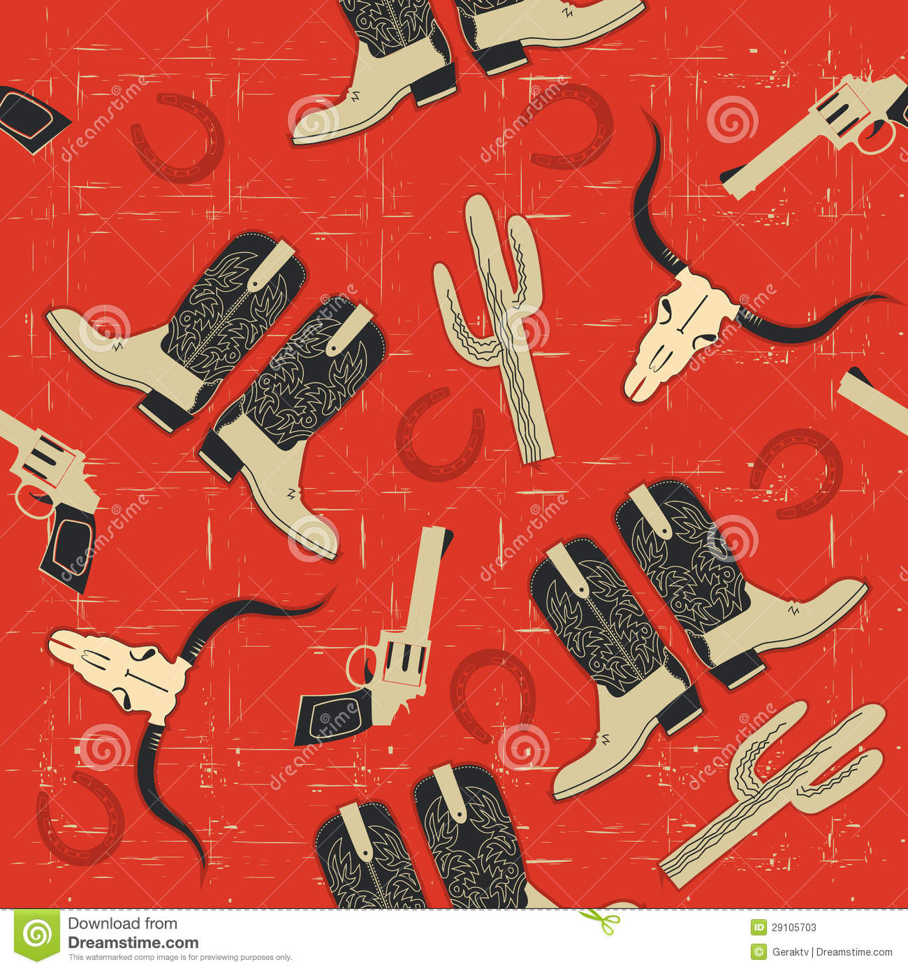 Cowboy Seamless Pattern For Background. Stock Photos ...