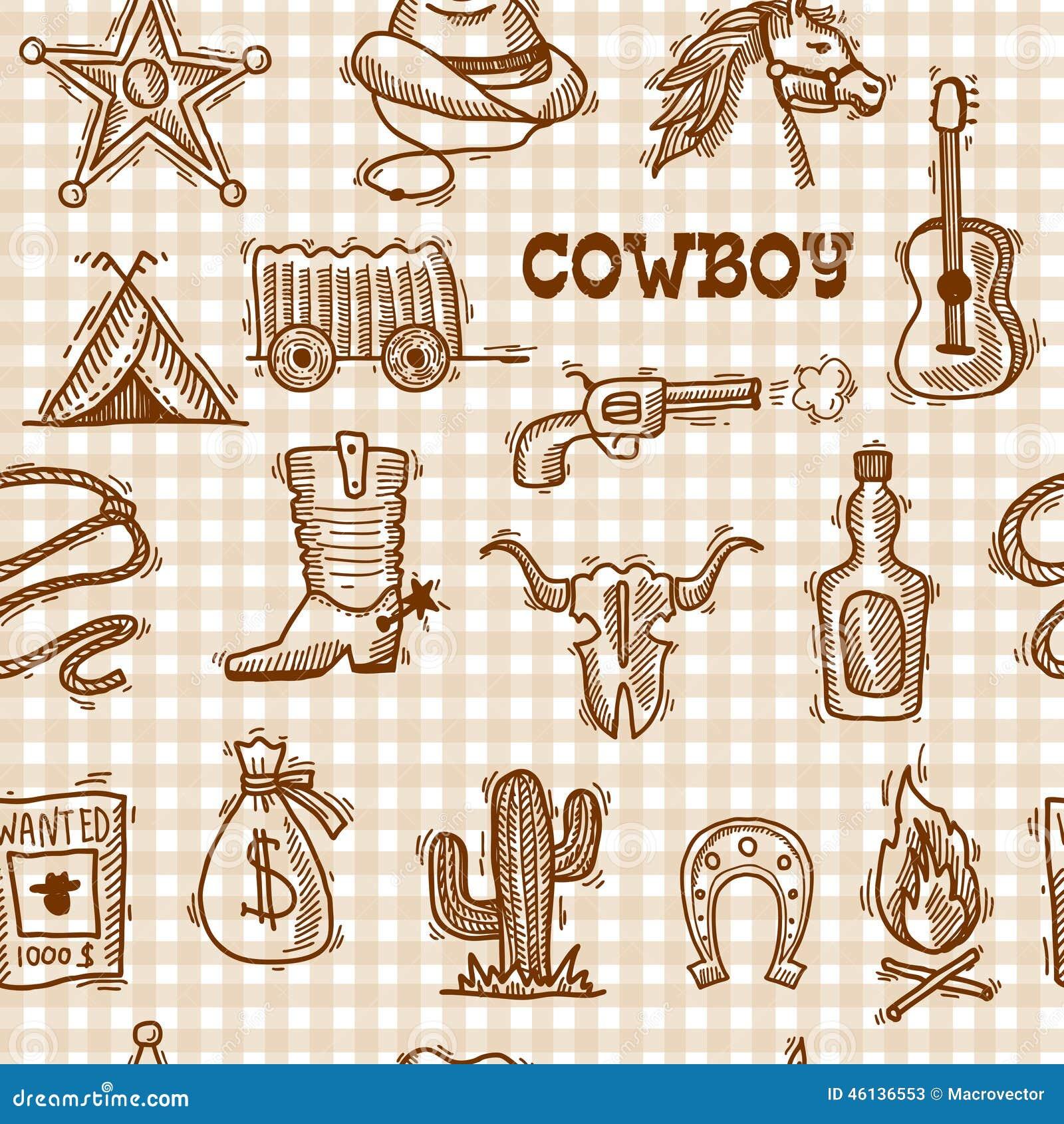 Cowboy Seamless Pattern Stock Vector - Image: 46136553
