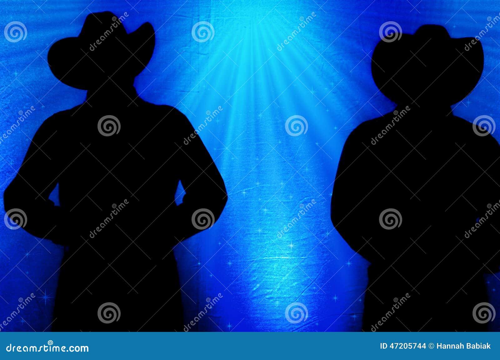 Cowboy Silhouette, fondo blu