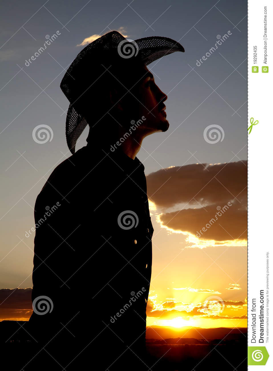 Cowboy Silhouette Profile Stock Image Image Of Event