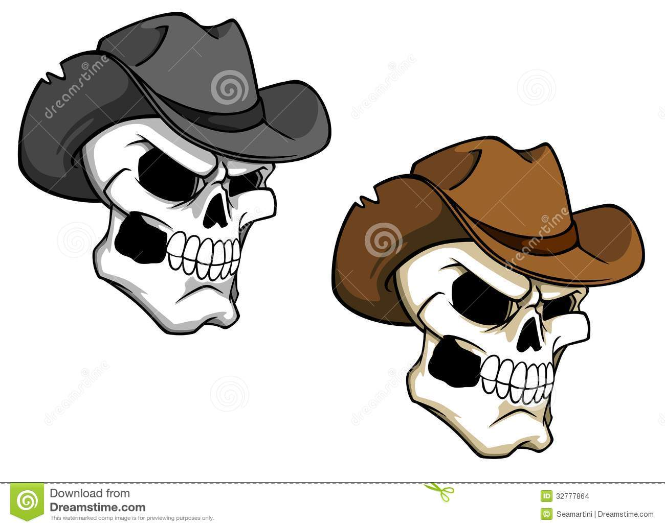 Skull With Cowboy Hat Tattoo Cowboy skull in brown hat for