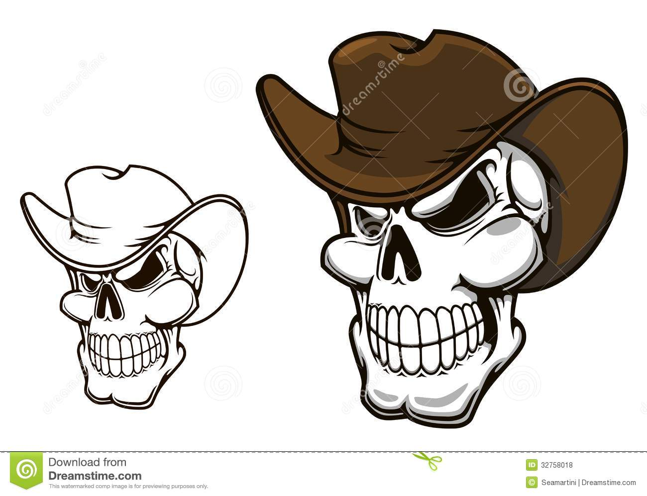 Skull With Cowboy Hat Tattoo Cowboy skull in hat Royalty