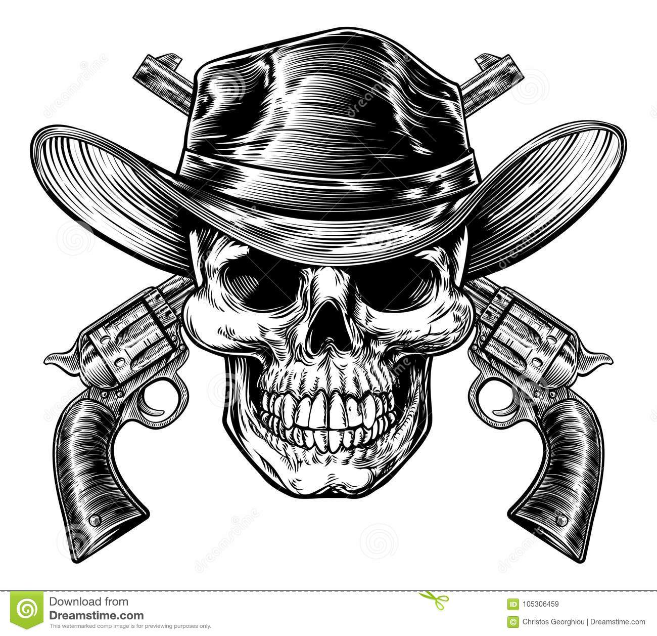 Drawings Easy Skull With Guns: Cowboy Skull And Pistols Stock Vector. Illustration Of
