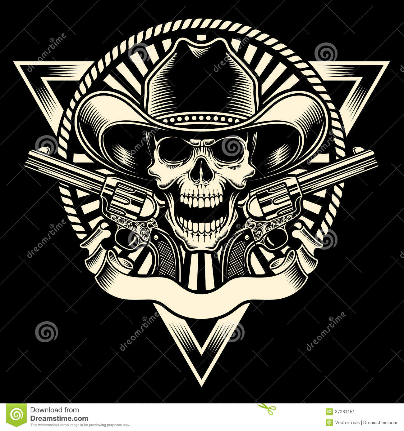 Download Cowboy Skull With Revolver stock vector. Illustration of police - 37281151