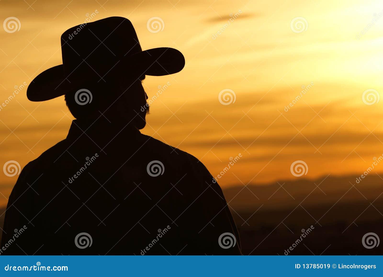 Cowboy-Sonnenuntergang-Schattenbild Stockbild