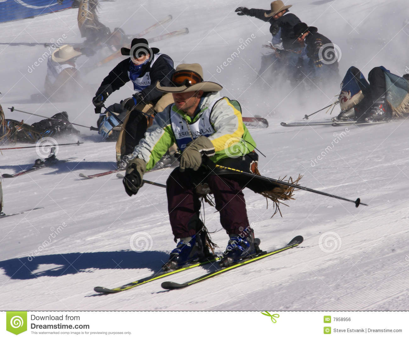 Cowboy Stampede Mass Start Of Skiing Cowboys Editorial