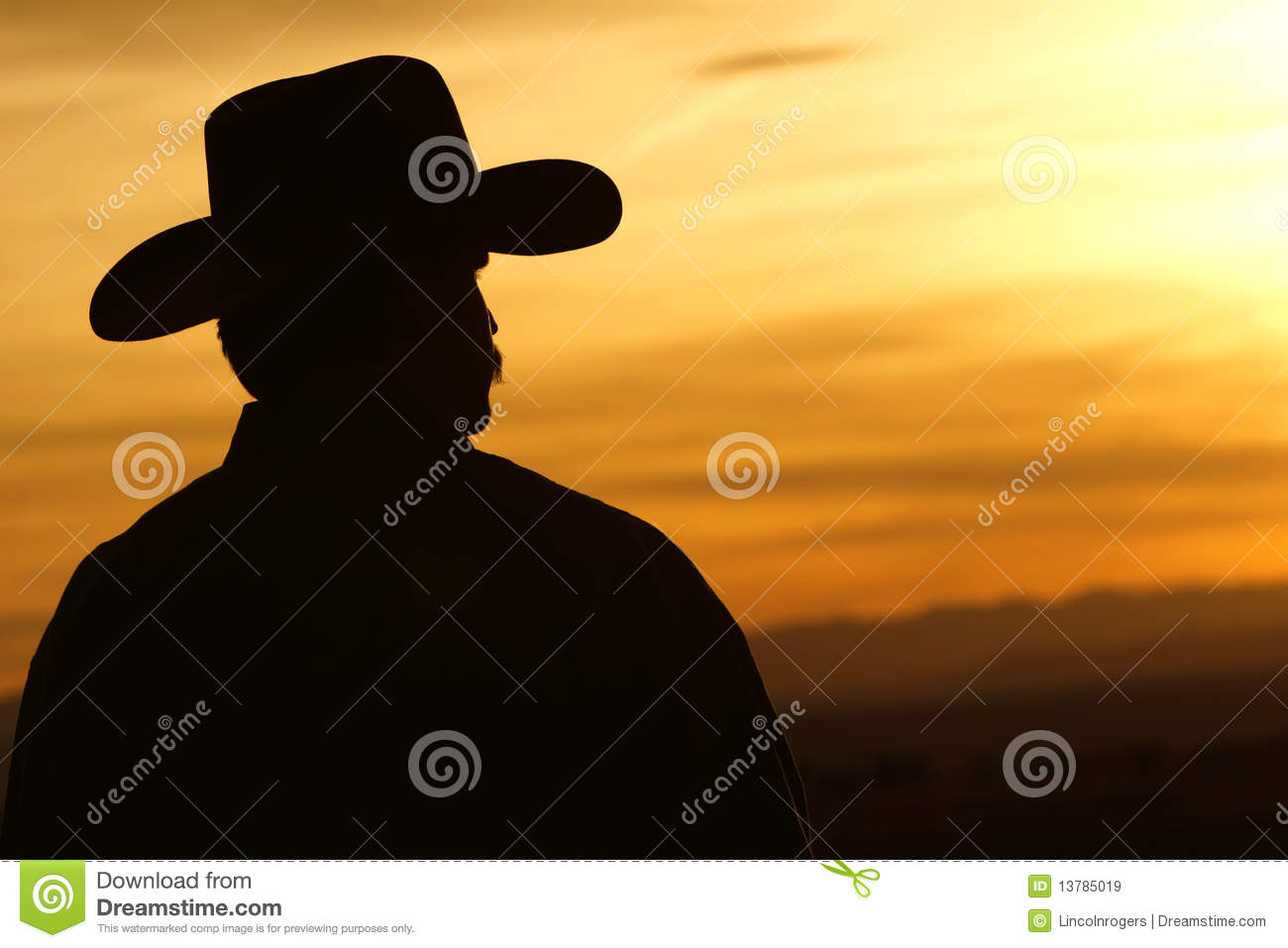 Cowboy Sunset Silhouette Stock Image. Image Of Rural