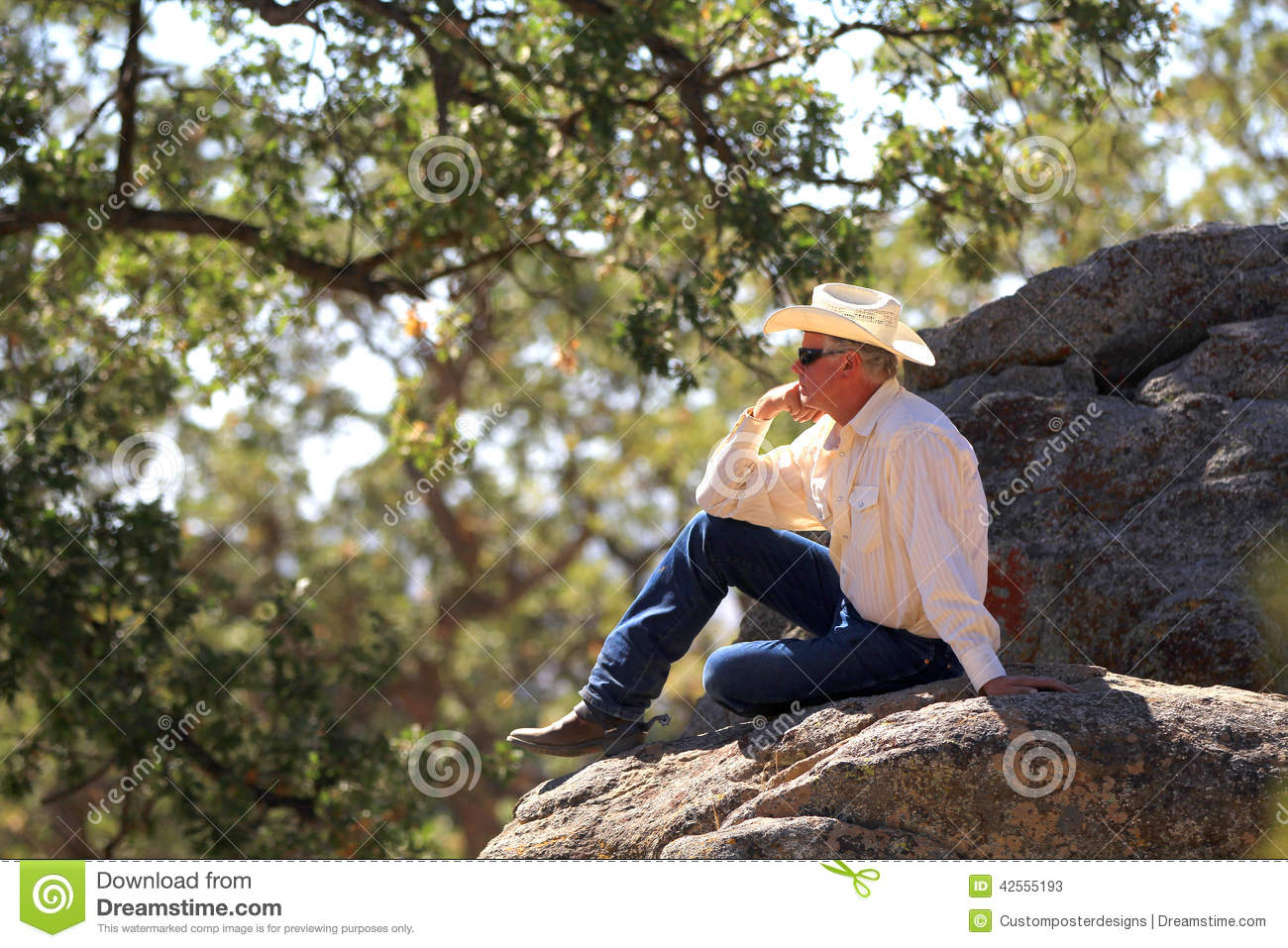 Download The cowboy thinker. stock image. Image of contemplating - 42555193