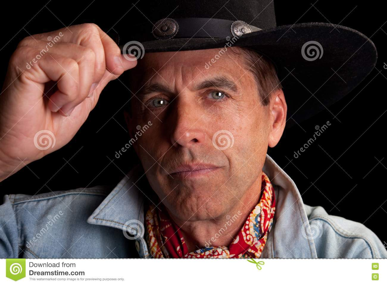 Cowboy tipping his hat stock photography image jpg 1300x957 Cowboy hat  salute eb13bca48185