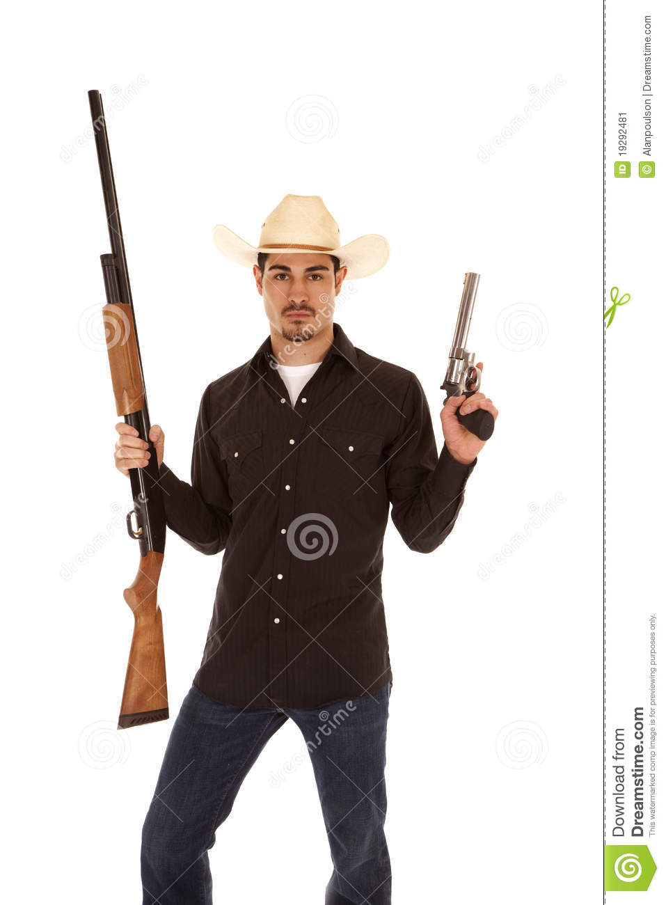 Cowboy With Two Guns Stock Image Image 19292481