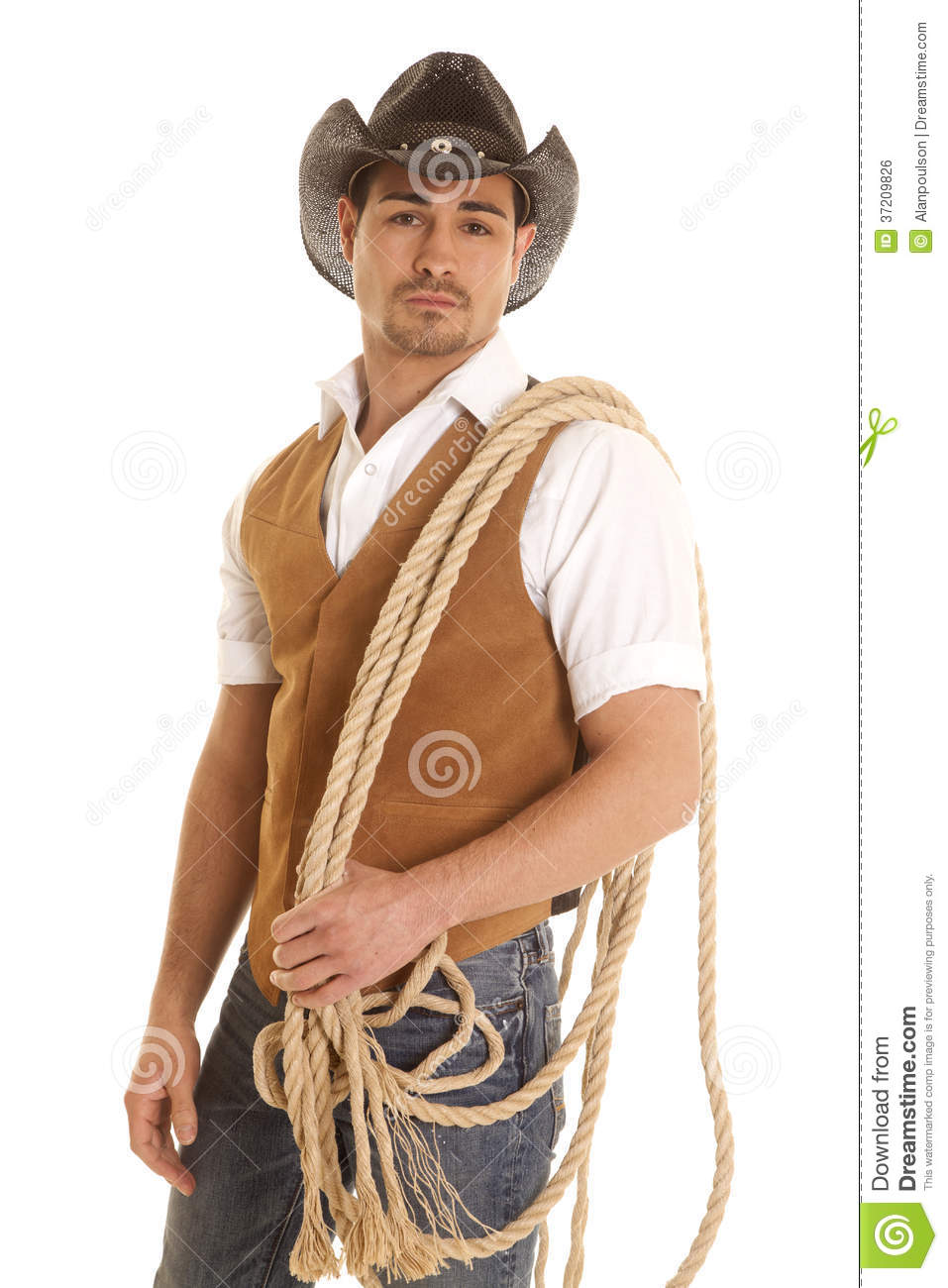 Cowboy In Vest With Rope On Shoulder Royalty Free Stock