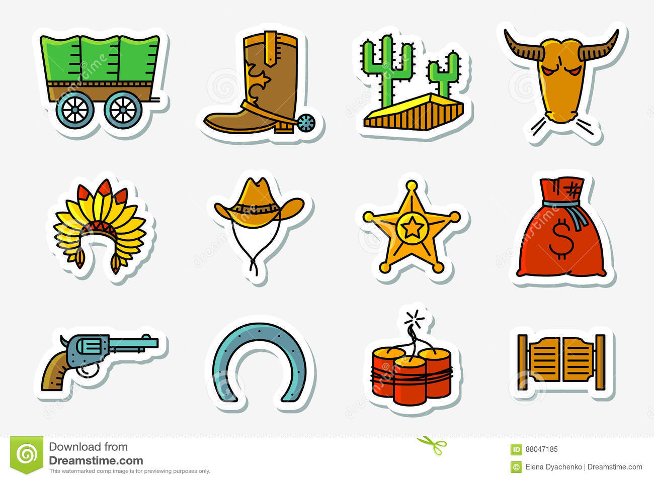 Cowboy and western icons set in line art minimalistic thin and simple retro  style . Vector collections with Hats Indians and cowboys d969b66a0f53