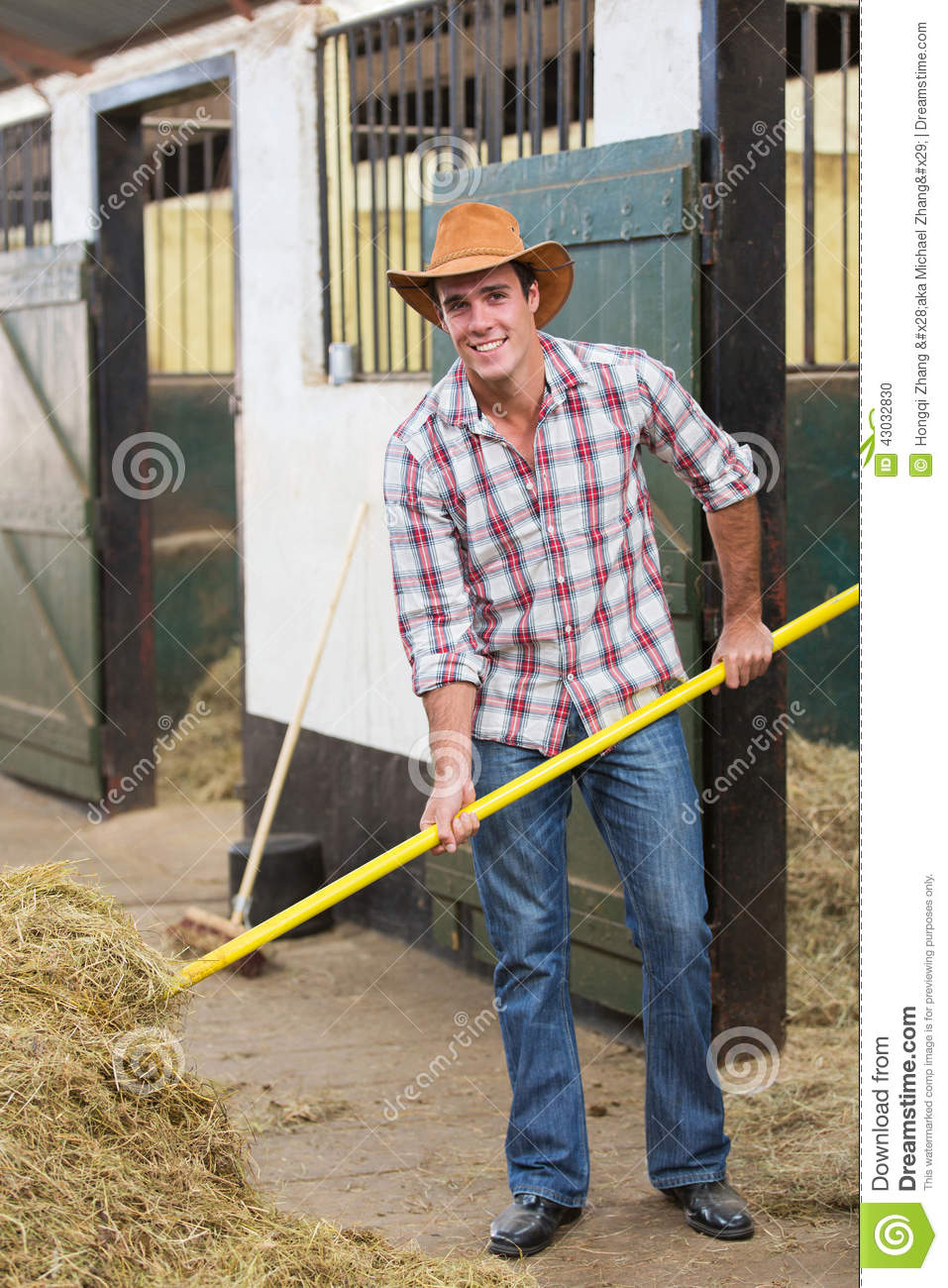 Cowboy Working Stable Stock Photo Image 43032830