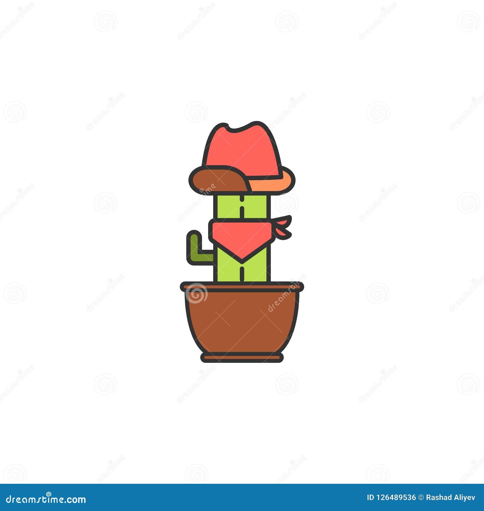 Cowboycactus gekleurd pictogram Element van wild het westenpictogram voor mobiel concept en Web apps Het de cactuspictogram van d