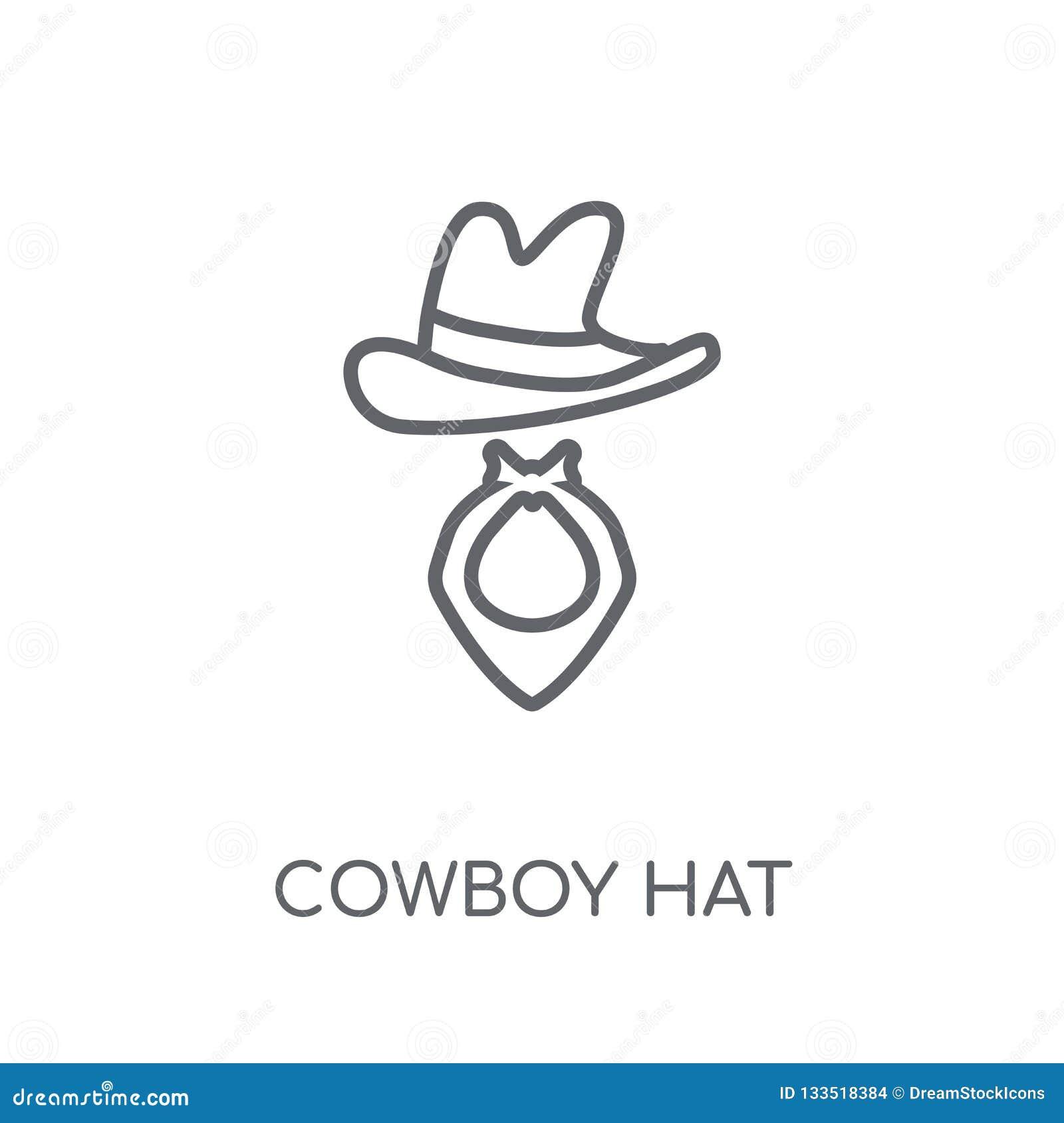 CowboyHat linjär symbol Modern nolla för begrepp för översiktscowboyHat logo