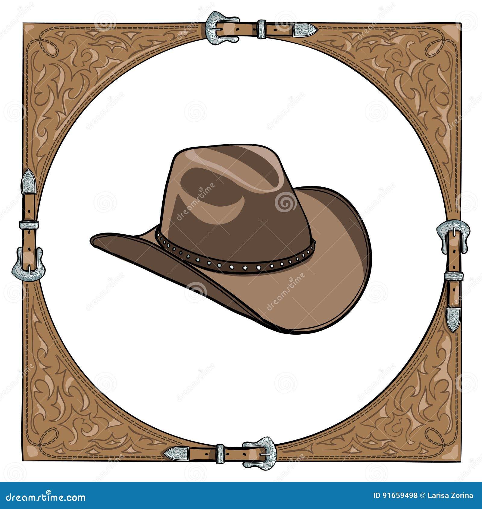 Cowboyhoed in het westelijke leerkader op witte achtergrond