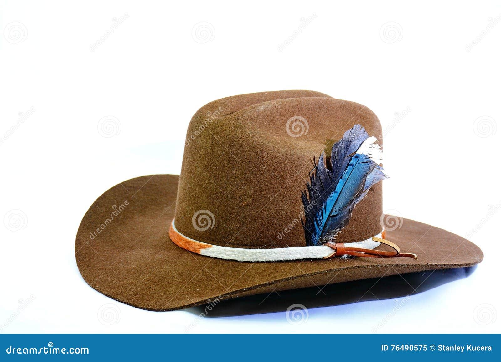 cowboyhut mit rindlederhutband und federn stockbild. Black Bedroom Furniture Sets. Home Design Ideas