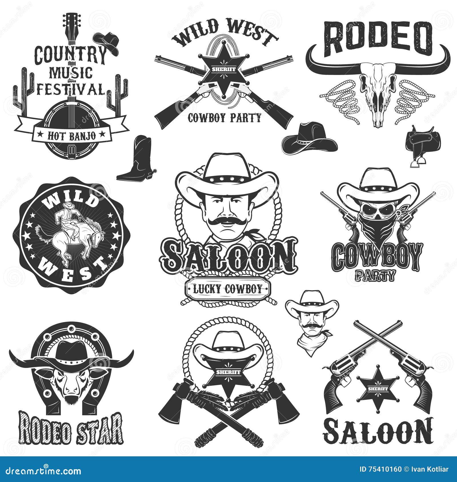 Cowboyrodeo, wilde Westenaufkleber Countrymusikpartei