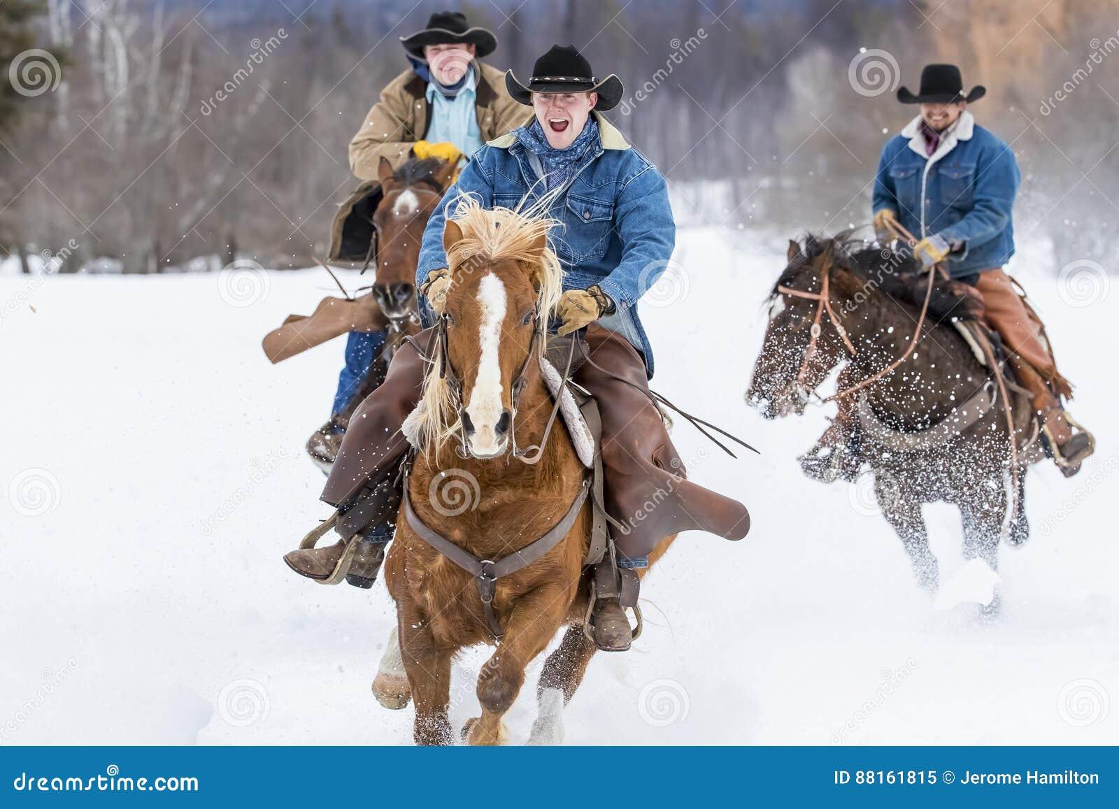 Cowboys die Paarden in de Sneeuw hoeden