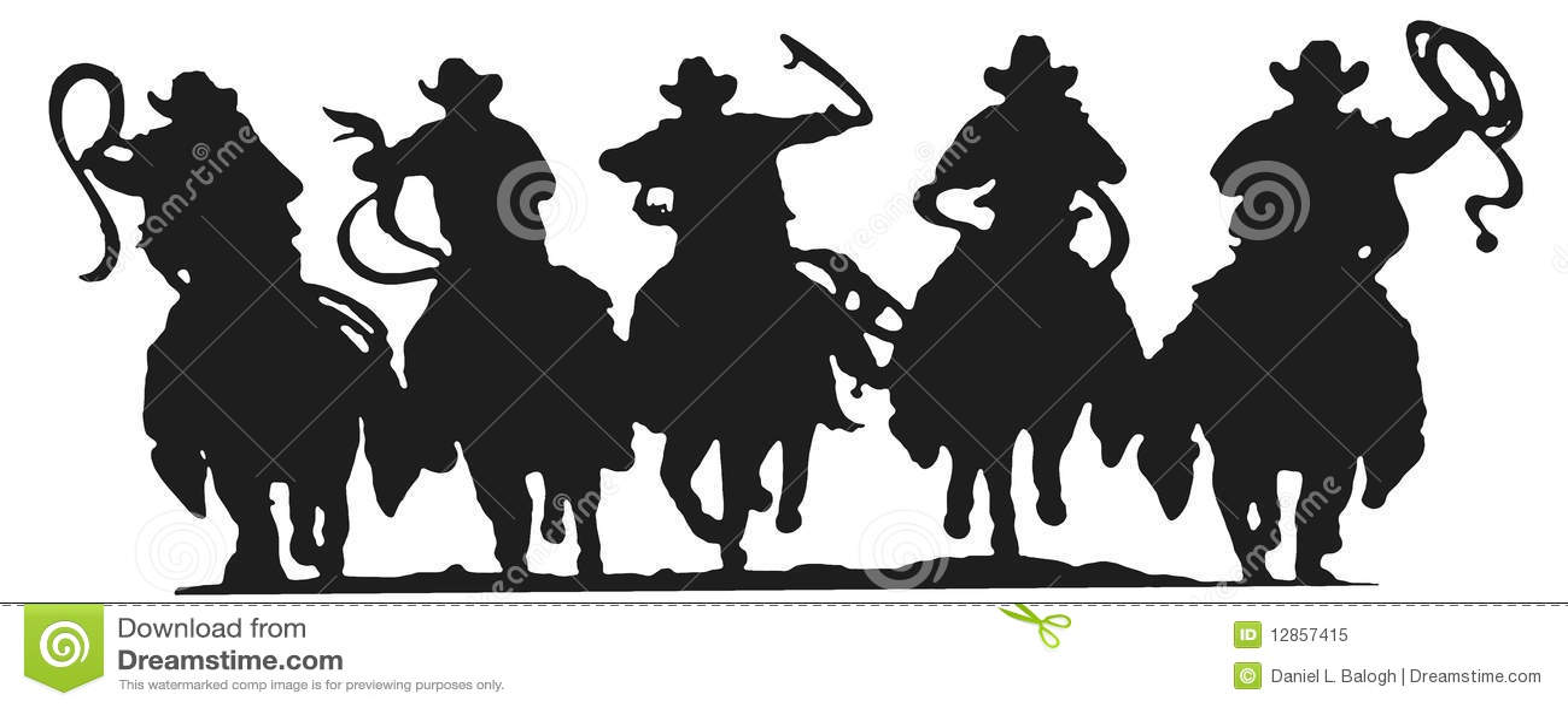Cowboys Silhouette Royalty Free Stock Photo - Image: 12857415
