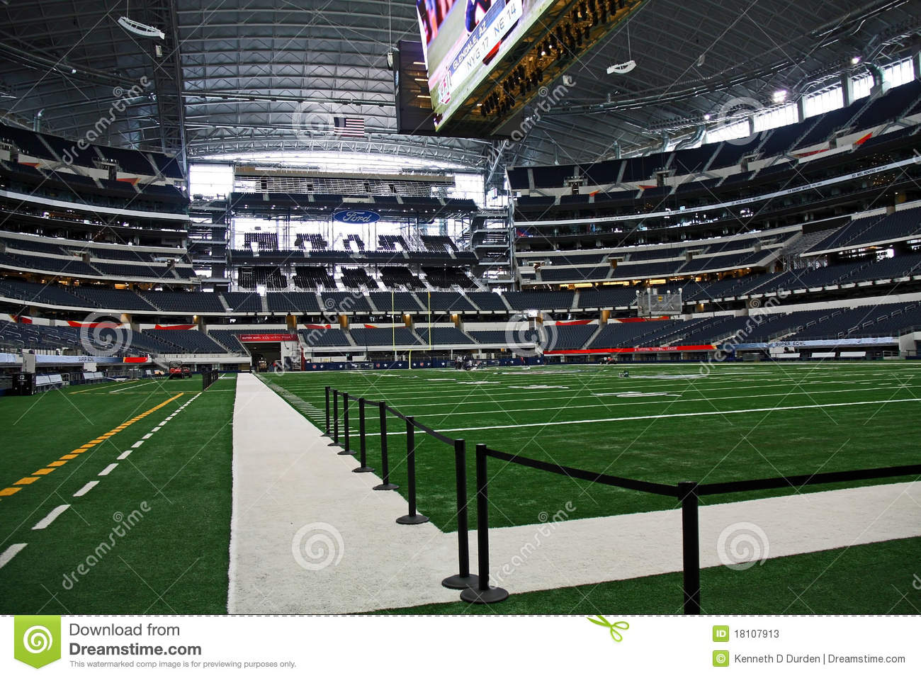 Cowboys Stadium Super Bowl End Zone And Field Editorial
