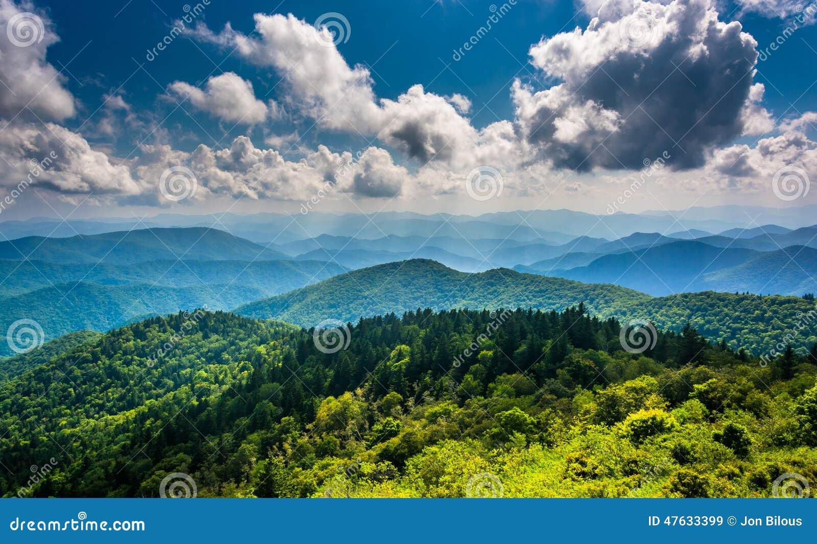 从Cowee山看见的蓝岭山脉的看法Overl