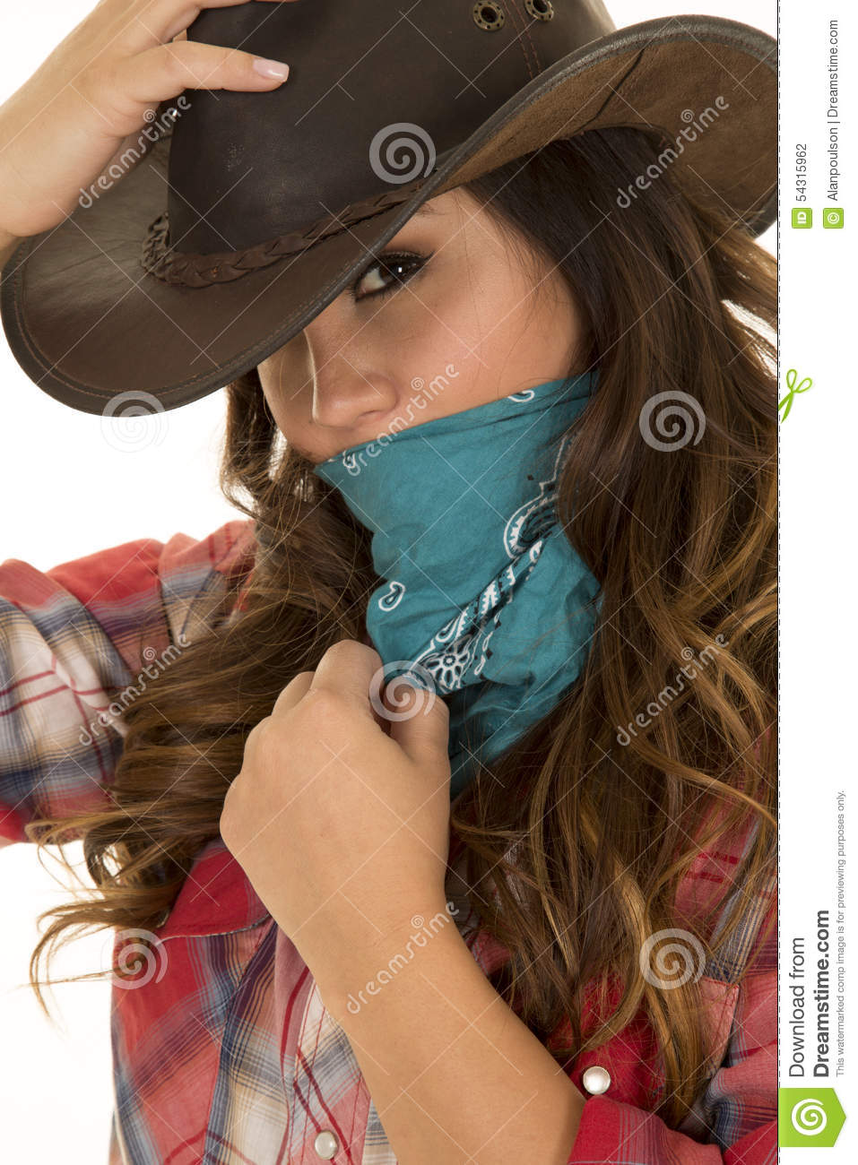 Cowgirl Close Hand On Hat And Bandana Over Face Looking Stock Photo