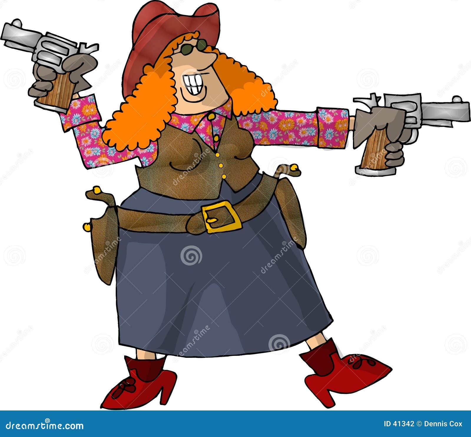 Download Cowgirl Con 2 Seis Tiradores Stock de ilustración - Ilustración de tiro, arma: 41342