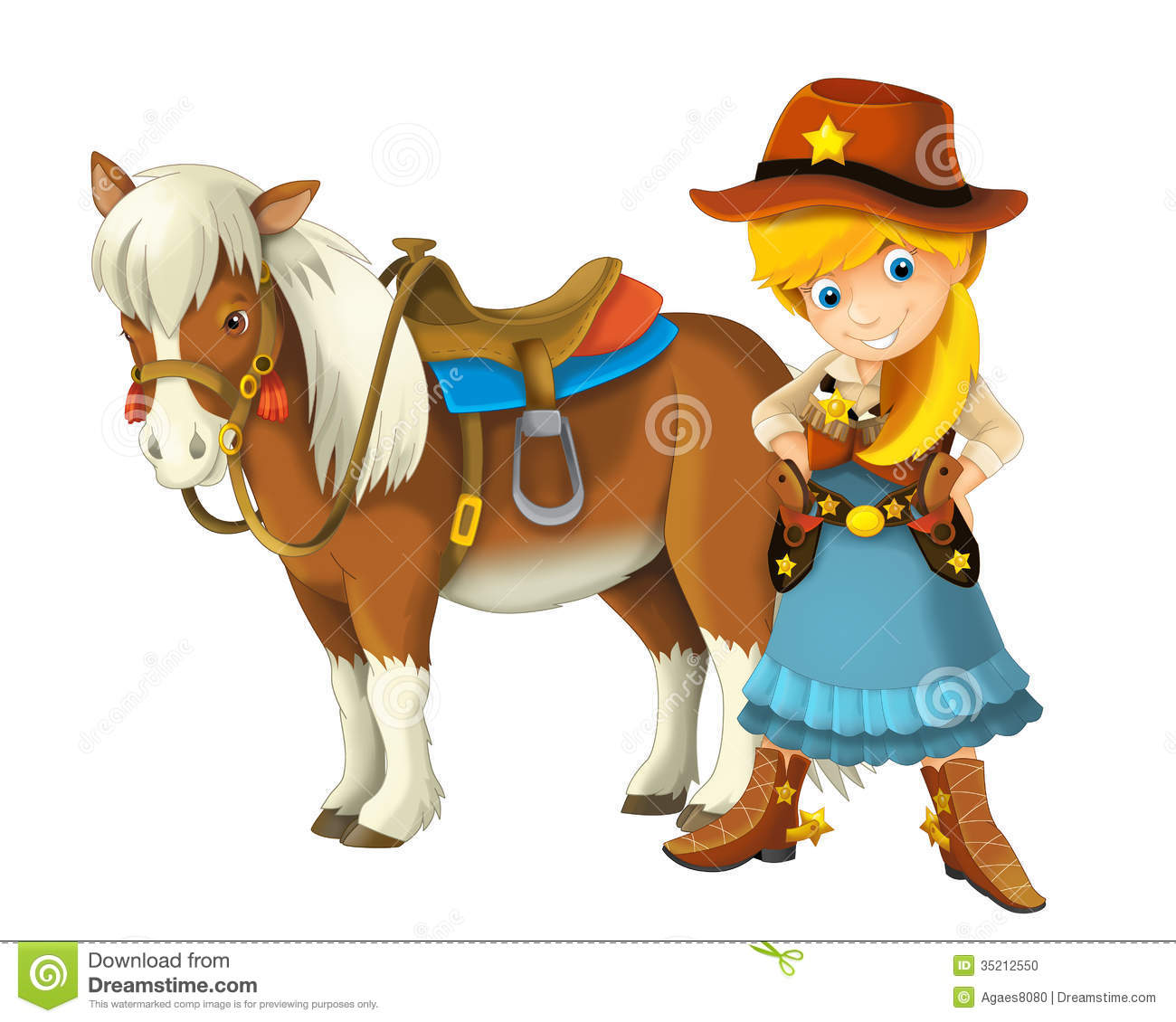 Wild West Cowgirl Outlaw Poster Stock Illustration