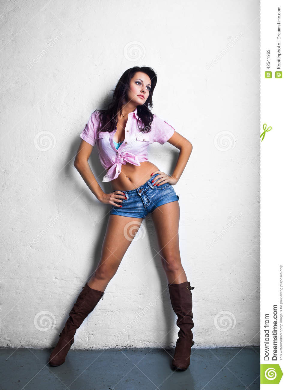 Cowgirl Girl In Shorts Stock Photo - Image: 42541963