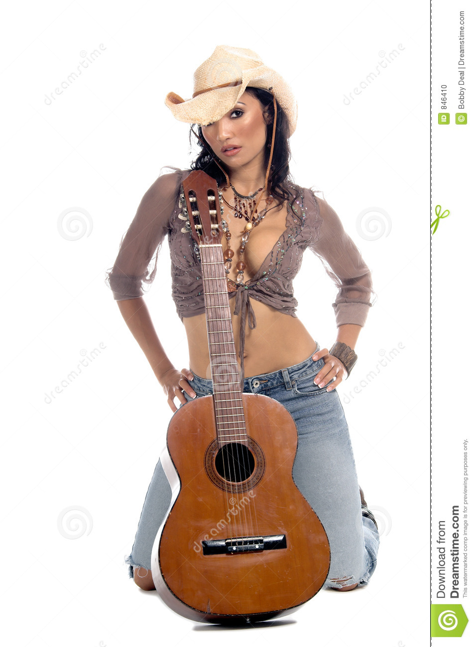 Cowgirl Guitar Stock Photo Image 846410